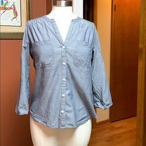 Loft button up blue blouse